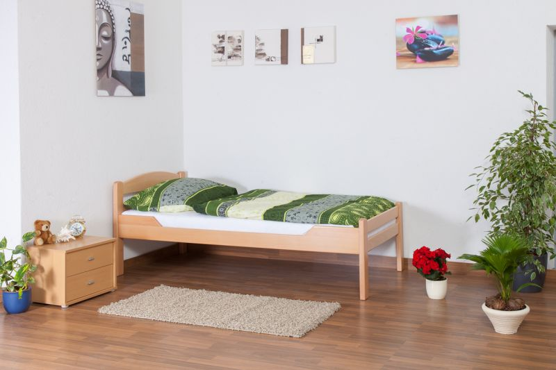 """Einzelbett """"Easy Premium Line"""" K1/2n, Buche Vollholz massiv Natur - Maße: 90 x 190 cm"""