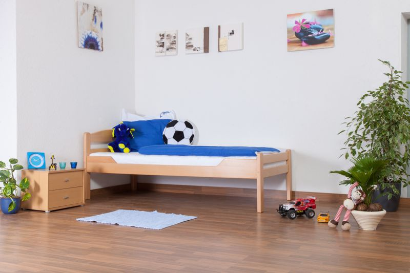 "Kinderbett / Jugendbett ""Easy Premium Line"" K1/2n, Buche Vollholz massiv Natur - Maße: 90 x 200 cm"