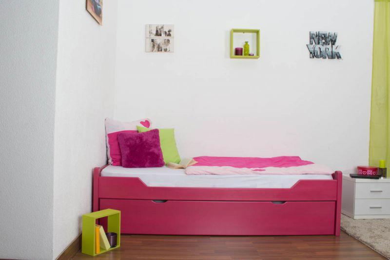"""Einzelbett / Ausziehbett """"Easy Premium Line"""" K1/1h inkl. 2. Liegeplatz und 2 Abdeckblenden, 90 x 200 cm Buche Vollholz massiv Rosa"""