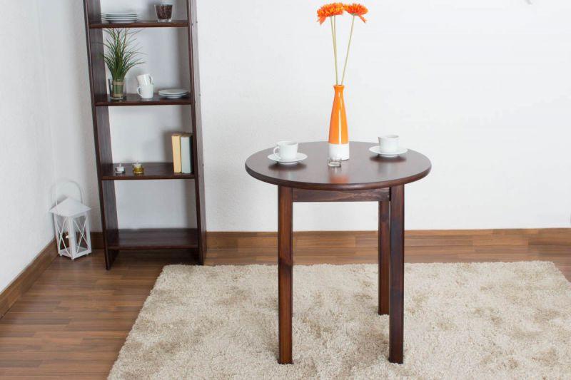 Tisch Kiefer massiv Vollholz Nussfarben 003 (rund) - Durchmesser 70 cm