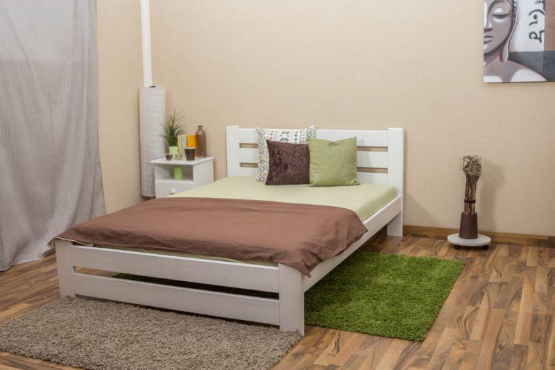 Einzelbett / Gästebett Kiefer Vollholz massiv weiß lackiert A24, inkl. Lattenrost - Abmessung 140 x 200 cm
