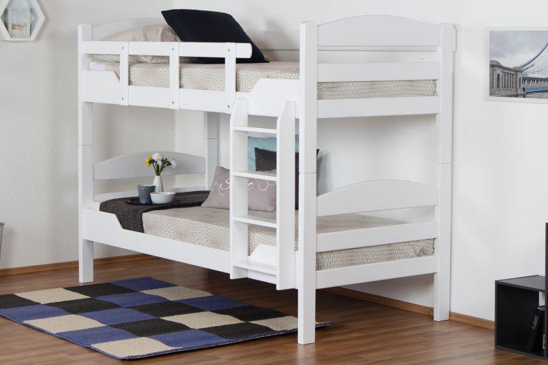 """Etagenbett für Erwachsene """"Easy Premium Line"""" K13/n, Kopf- und Fußteil gerundet, Buche Vollholz massiv Weiß - 90 x 200 cm (B x L), teilbar"""