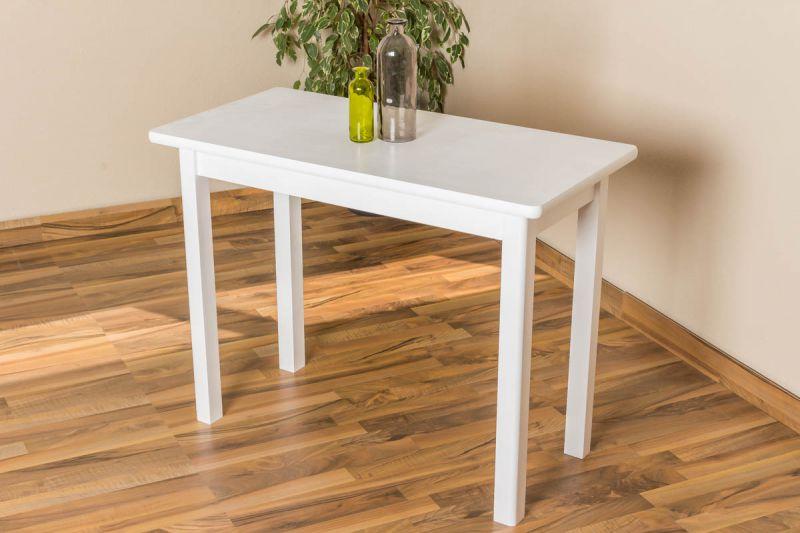 Tisch Kiefer massiv Vollholz weiß lackiert Junco 226C (eckig) -100 x 50 cm (B x T)