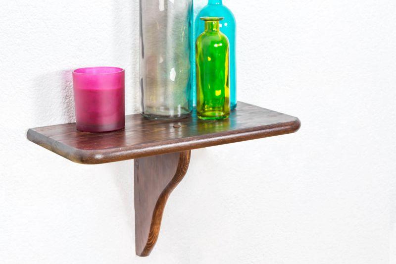 Hängeregal / Wandregal Kiefer Vollholz massiv Nussfarben 020 - Abmessung 24 x 40 x 20 cm (H x B x T)