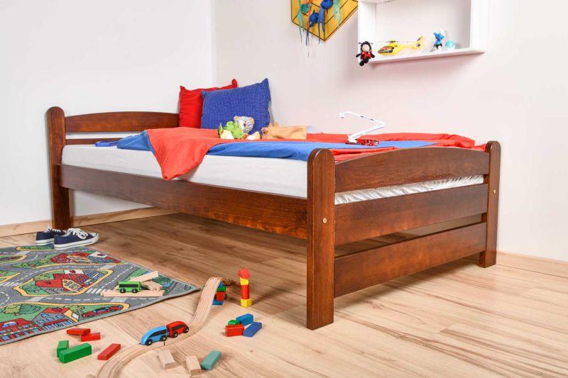 Kinderbett / Jugendbett Kiefer massiv Vollholz Nussfarben 84, inkl. Lattenrost - 100 x 200 cm