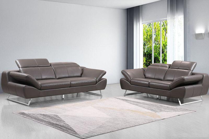Premium Couch Safona, Set (2- und 3-Sitz Sofa), Farbe: Nougat