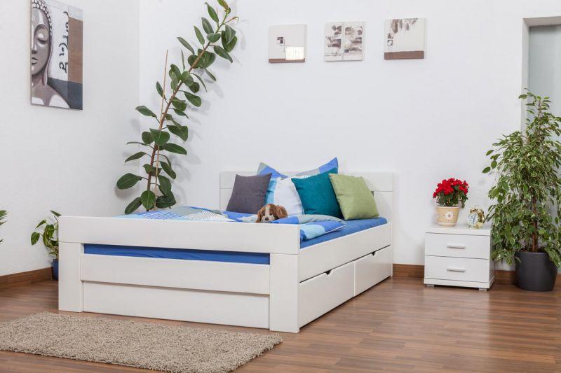 Weißes Buche Bett mit Schubladen 140 x 200 cm Weiß massiv