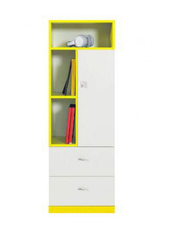 """Jugendzimmer - Schrank """"Geel"""" 28, Weiß / Gelb - Abmessungen: 135 x 45 x 40 cm (H x B x T)"""