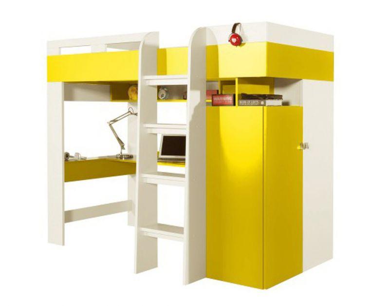 """Funktionsbett / Kinderbett / Hochbett mit Bettkasten und Schreibtisch """"Geel"""" 41  Weiß / Gelb - Liegefläche 90 x 200 cm (B x L)"""