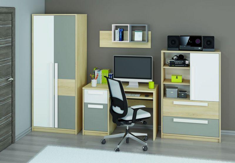 Jugendzimmer Set B Greeley, 6-teilig, Farbe: Buche / Weiß / Platingrau