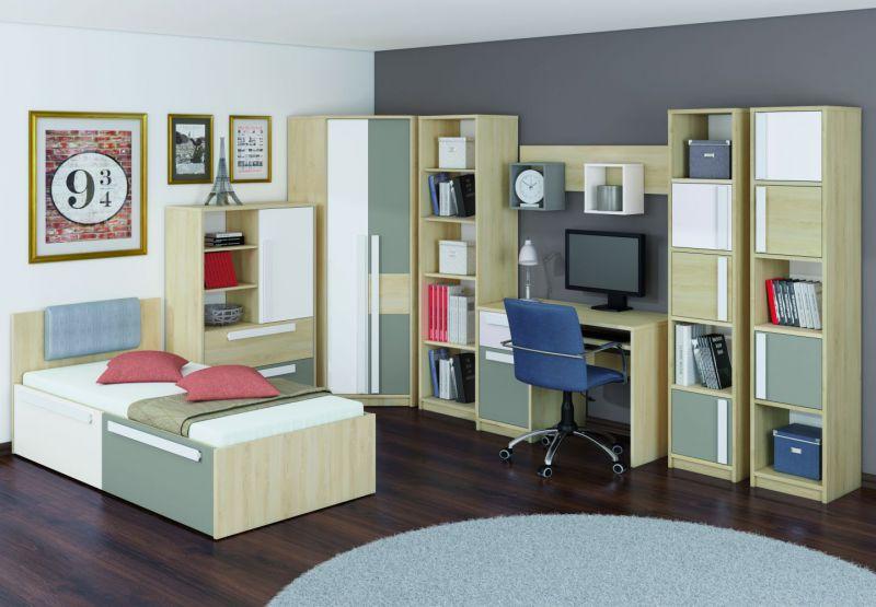 Jugendzimmer Komplett - Set C Greeley, 6-teilig, Farbe: Buche / Weiß / Platingrau