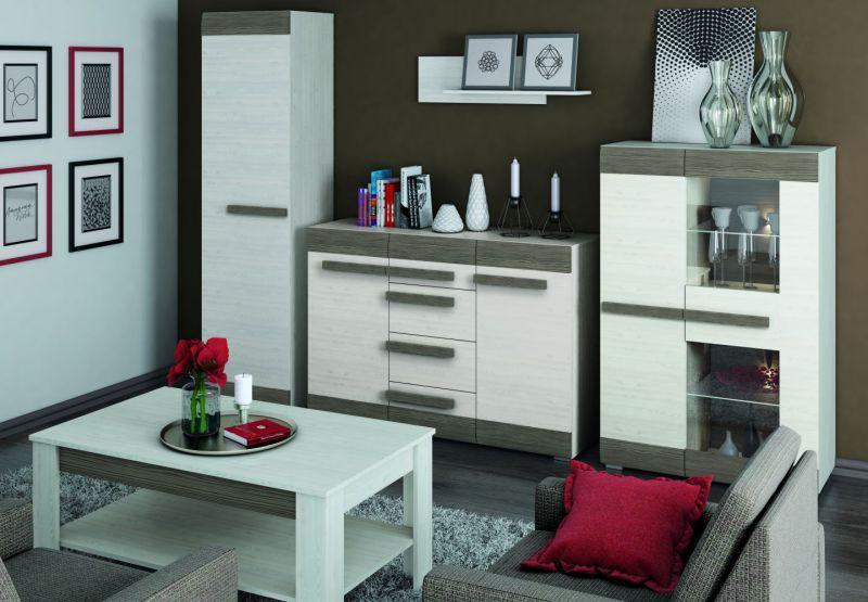 Wohnzimmer Komplett - Set E Knoxville, 5-teilig, Farbe: Kiefer Weiß / Grau