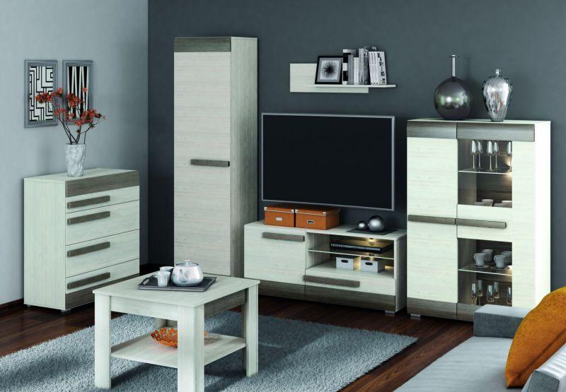 Wohnzimmer Komplett - Set H Knoxville, 6-teilig, Farbe: Kiefer Weiß / Grau
