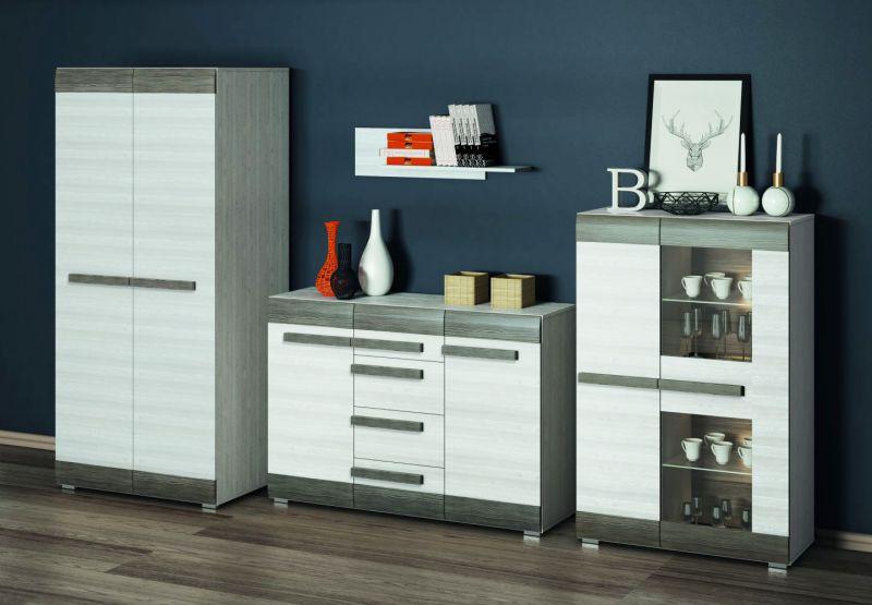 Wohnzimmer Komplett - Set I Knoxville, 4-teilig, Farbe: Kiefer Weiß / Grau
