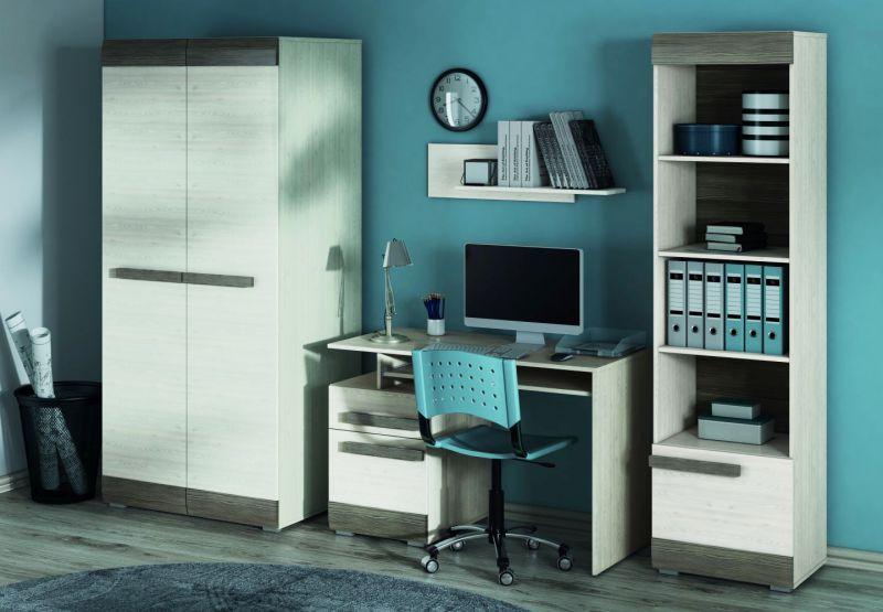 Büro Komplett - Set J Knoxville, 4-teilig, Farbe: Kiefer Weiß / Grau