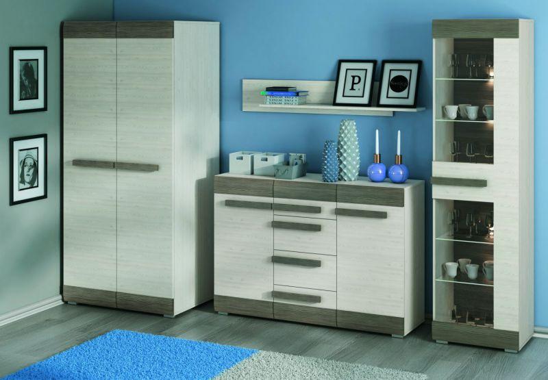Wohnzimmer Komplett - Set K Knoxville, 4-teilig, Farbe: Kiefer Weiß / Grau