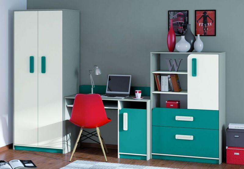 Kinderzimmer Set G Renton, 3-teilig, Farbe: Platingrau / Weiß / Blaugrün