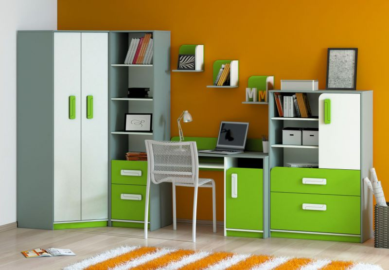 Kinderzimmer Set K Renton, 7-teilig, Farbe: Platingrau / Weiß / Grün