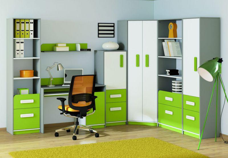 Kinderzimmer Set L Renton, 7-teilig, Farbe: Platingrau / Weiß / Grün