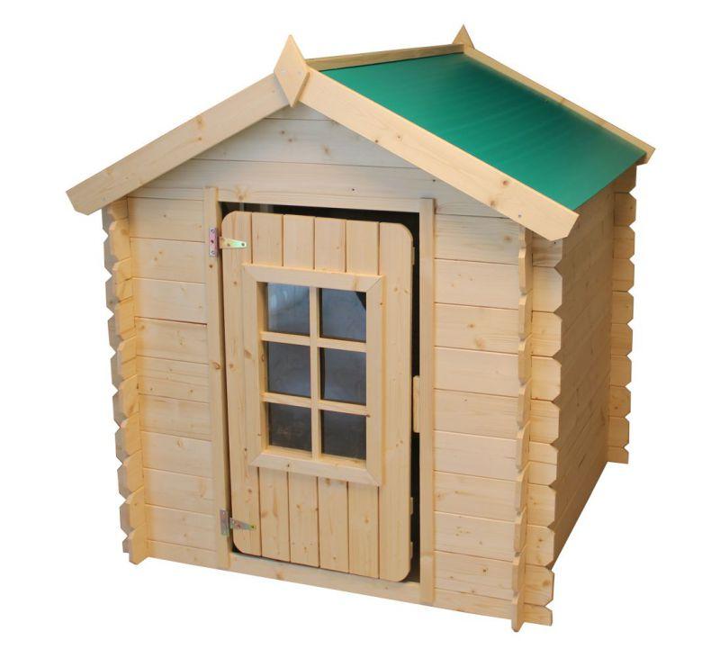 Spielhaus Happy Park Grün - 1,05 x 1,05 Meter aus 13 mm Blockbohlen