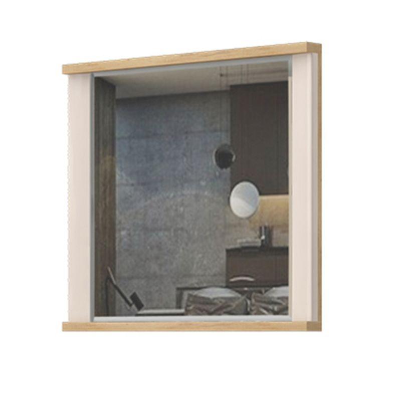 Spiegel Sili 05, Farbe: Eiche Braun / Creme Hochglanz - Abmessungen: 65 x 80 x 7 cm (H x B x T)