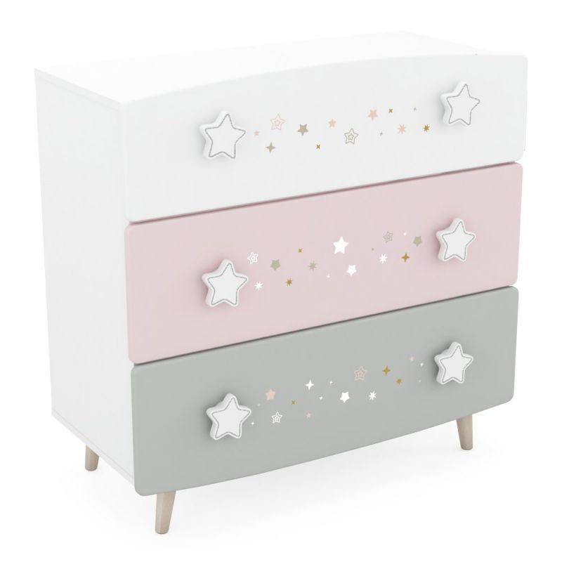 Kinderzimmer - Kommode Ines 10, Farbe: Weiß / Rosa / Grau - Abmessungen: 87 x 87 x 41 cm (H x B x T)
