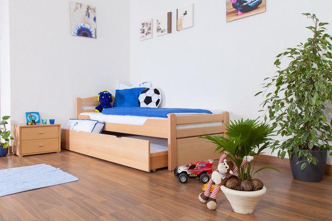 """Kinderbett / Jugendbett """"Easy Premium Line"""" K1/2h inkl. 2. Liegeplatz und 2 Abdeckblenden, 90 x 200 cm Buche Vollholz massiv Natur"""