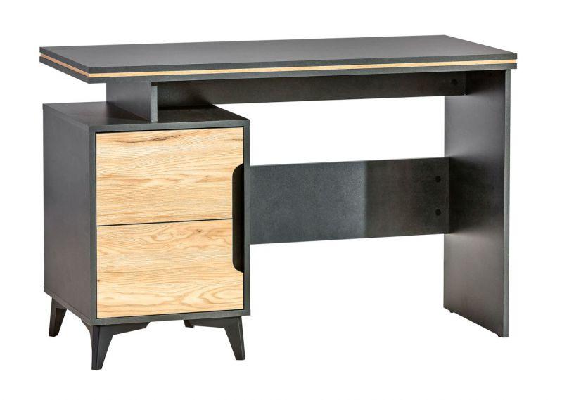 Schreibtisch Amanto 12, Farbe: Schwarz / Esche - Abmessungen: 79 x 120 x 52 cm (H x B x T)