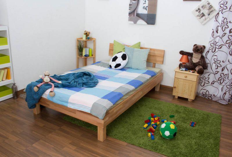 Jugendbett Wooden Nature 01 Kernbuche geölt  - Liegefläche 120 x 200 cm (B x L)
