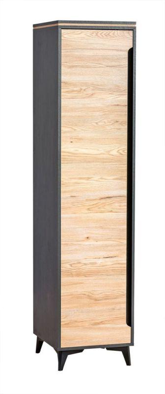 Schrank Amanto 2, Farbe: Schwarz / Esche - Abmessungen: 200 x 47 x 52 cm (H x B x T)