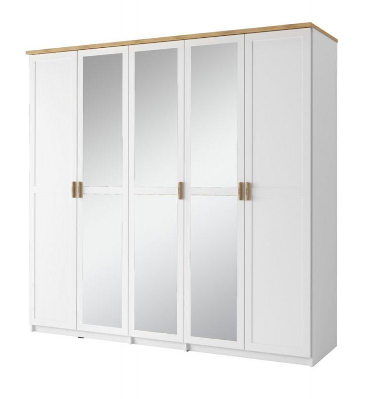Drehtürenschrank / Kleiderschrank Dodoni 02, Farbe: Weiß / Eiche - Abmessungen: 216 x 226 x 59 cm (H x B x T)