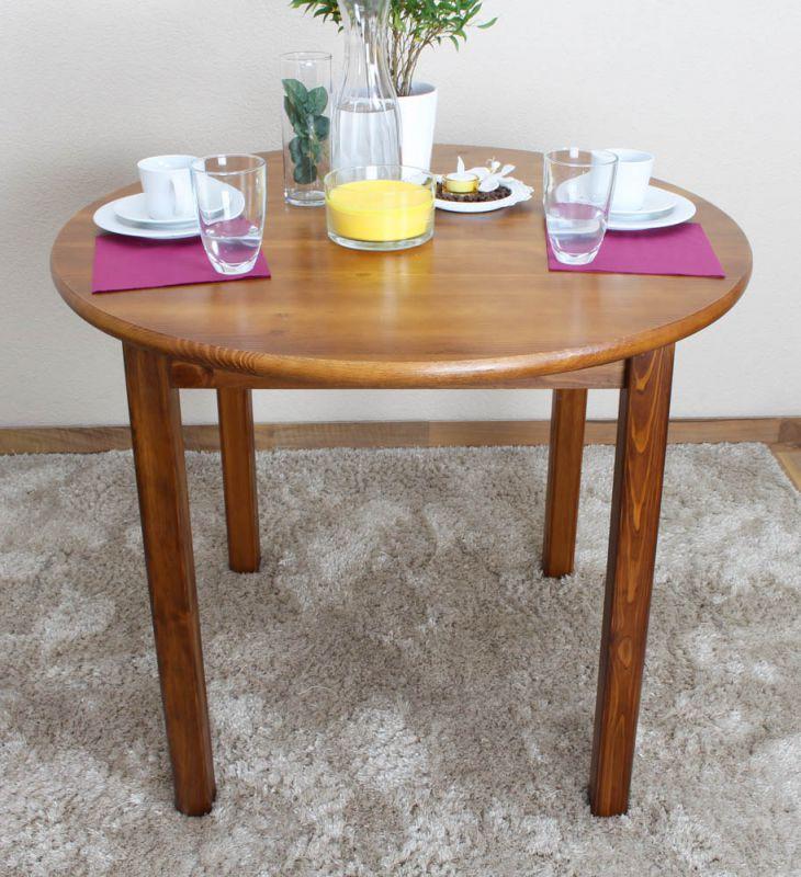 Tisch Kiefer massiv Vollholz Eichefarben 003 (rund) - Durchmesser 90 cm