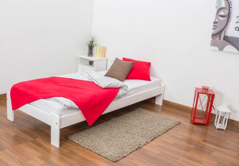 Futonbett / Massivholzbett Kiefer Vollholz massiv weiß lackiert A10, inkl. Lattenrost - Abmessung 90 x 200 cm