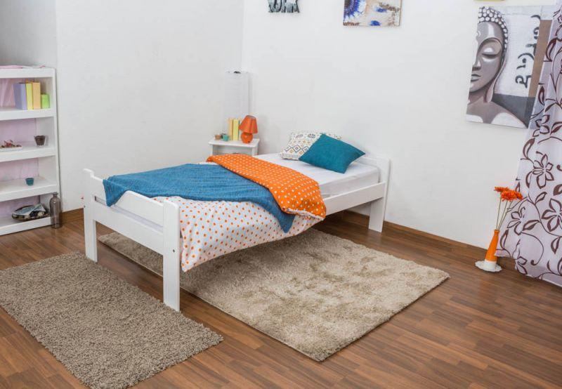 Einzelbett / Gästebett  Kiefer Vollholz massiv weiß lackiert A20, inkl. Lattenrost - Abmessung 90 x 200 cm