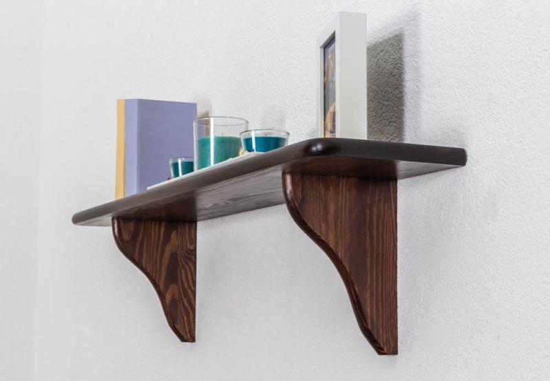 Hängeregal / Wandregal Kiefer massiv Vollholz Nussfarben 005 - Abmessung 24 x 100 x 20 cm (H x B x T)