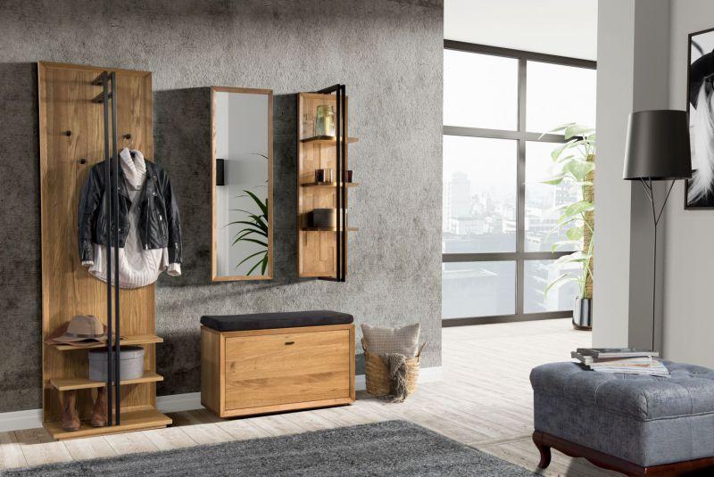 Garderobe Komplett-Set A Belem, 4-teilig, Farbe: Natur, Eiche teilmassiv