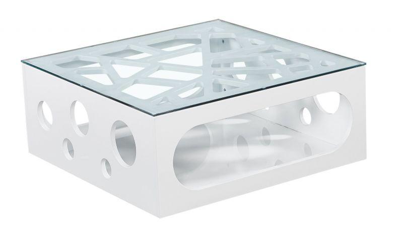 Couchtisch Dakoro 102, Farbe: Weiß Hochglanz - Abmessungen: 35 x 85 x 85 cm (H x B x T)