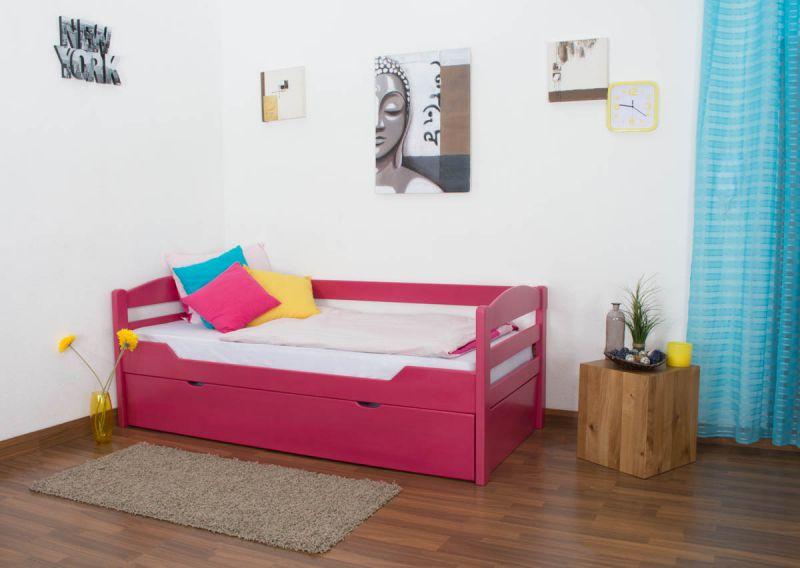 """Einzelbett / Ausziehbett """"Easy Premium Line"""" K1/h/s inkl. 2. Liegeplatz und 2 Abdeckblenden, 90 x 200 cm Buche Vollholz massiv Rosa"""