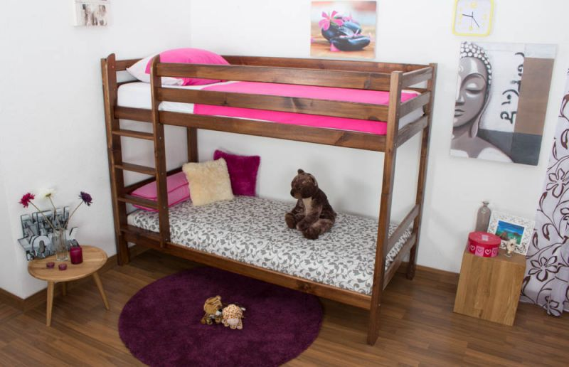 Etagenbett / Kinderbett Kiefer Vollholz massiv Nussfarben A16, inkl. Lattenroste - Abmessung 90 x 200 cm, teilbar