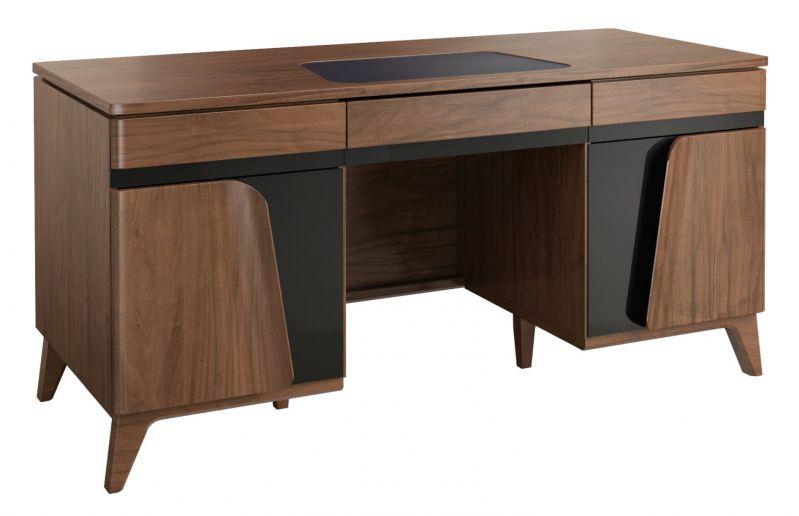 Schreibtisch Pazin 28, Farbe: Nuss / Schwarz, teilmassiv - 79 x 162 x 75 cm (H x B x T)