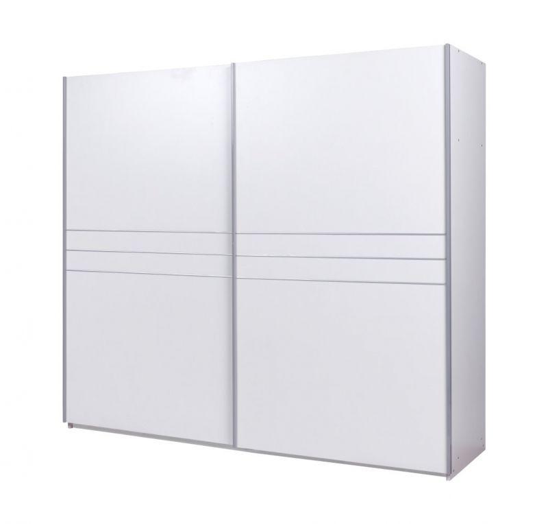 Schiebetürenschrank / Kleiderschrank Atra 01, Farbe: Weiß - Abmessungen: 191 x 212 x 62 cm (H x B x T)