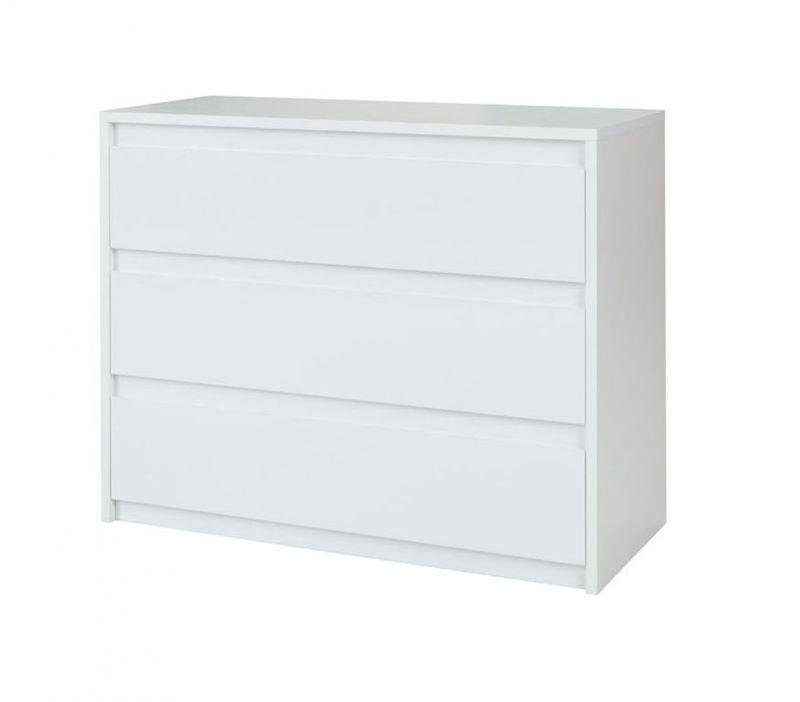 Kommode Thiva 02, Farbe: Weiß / Weiß Hochglanz - Abmessungen: 82 x 110 x 46 cm (H x B x T)