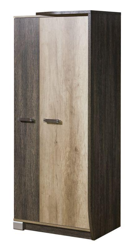 Drehtürenschrank / Kleiderschrank Sichling 01, Rahmen Rechts, Farbe: Eiche Braun - Abmessungen: 193 x 80 x 58 cm (H x B x T)