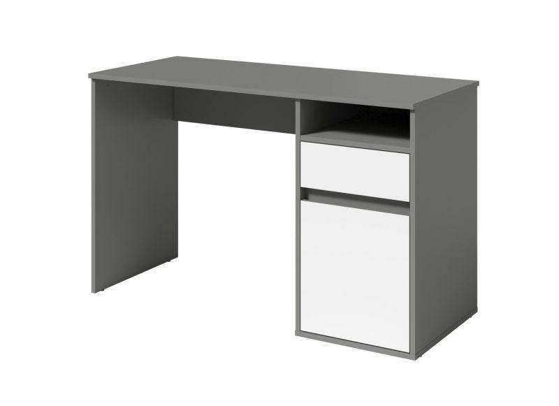 Schreibtisch Korinth 01, Farbe: Grau / Weiß - Abmessungen: 76 x 120 x 53 cm (H x B x T)