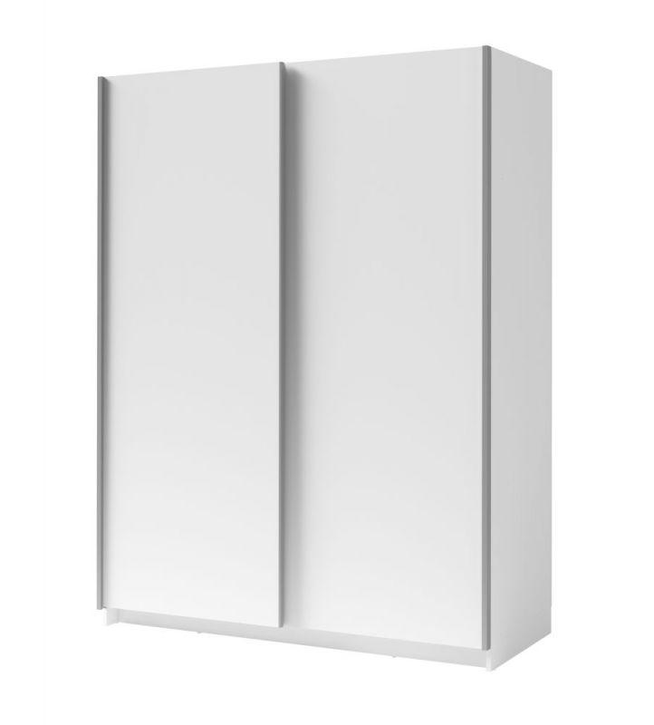 Schiebetürenschrank / Kleiderschrank Trikala 01, Farbe: Weiß - Abmessungen: 198 x 150 x 60 cm (H x B x T)