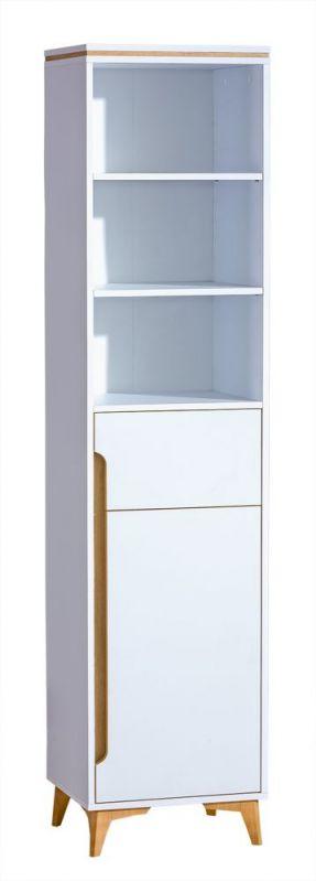 Schrank Amanto 3, Farbe: Weiß / Esche - Abmessungen: 200 x 47 x 40 cm (H x B x T)