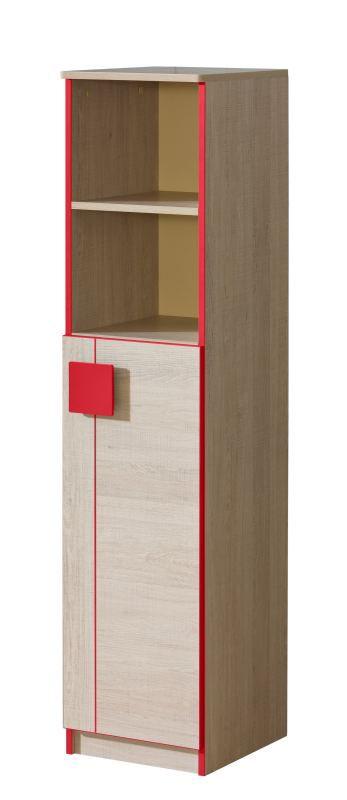Jugendzimmer - Schrank Elias 10, Farbe: Hellbraun / Rot - Abmessungen: 150 x 35 x 40 cm (H x B x T)