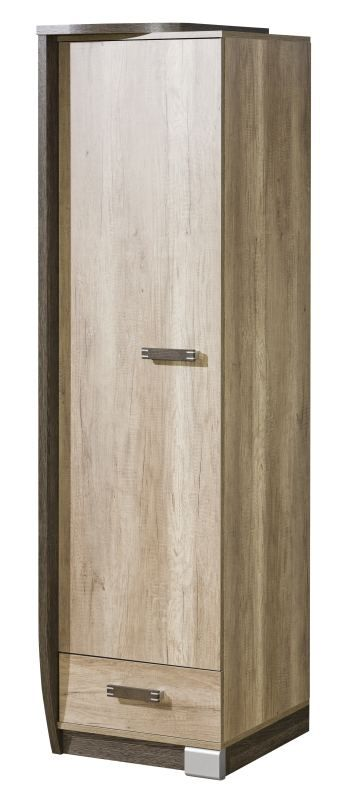 Drehtürenschrank / Kleiderschrank Sichling 17, Rahmen Links, Farbe: Eiche Braun - Abmessungen: 193 x 50 x 58 cm (H x B x T)