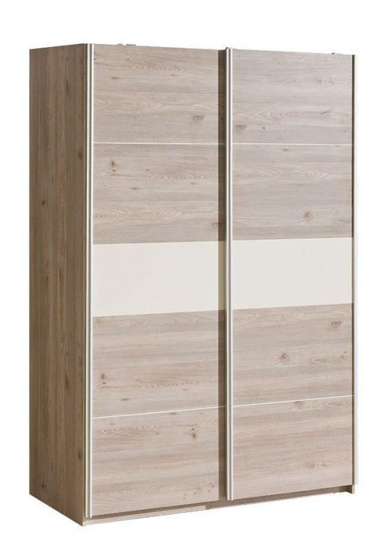 Schiebetürenschrank / Kleiderschrank Cavalla 19, Farbe: Eiche / Creme - Abmessungen: 211 x 143 x 67 cm (H x B x T)