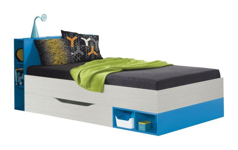 """Kinderbett / Jugendbett """"Felipe"""" 22, Blau / Weiß - Liegefläche: 90 x 200 cm"""